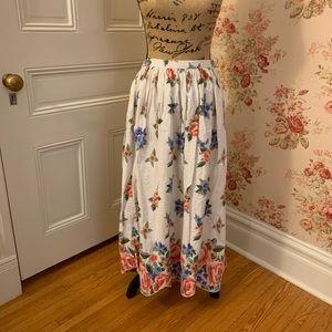 Vintage Floral Cotton Maxi Skirt